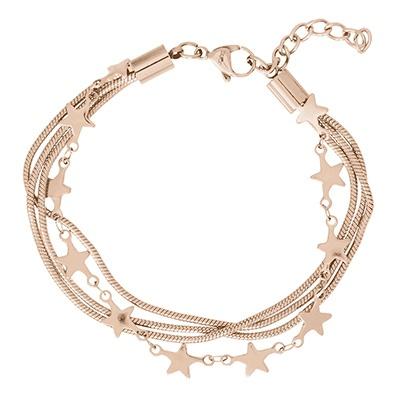 iXXXi Edelstaal armband Snake & Star Rose Goud-kleurig 17cm - 20cm