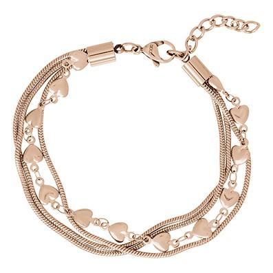 iXXXi Edelstaal armband Snake & Heart Rose Goud-kleurig 17cm - 20cm