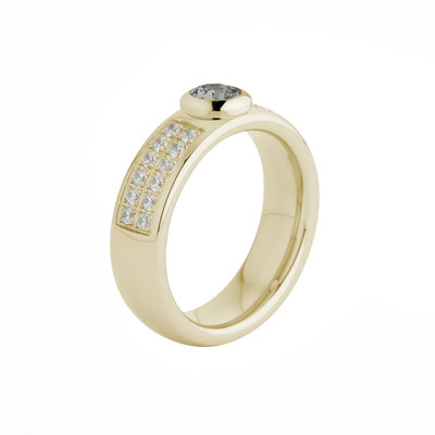 Melano Vivid Stainless Steel Ring Gold-coloured Vicky Zirkonia Crystal