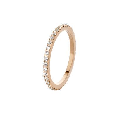 Melano Friends Ring Sade Edelstaal Rose Goudkleurig Zirkonia Crystal
