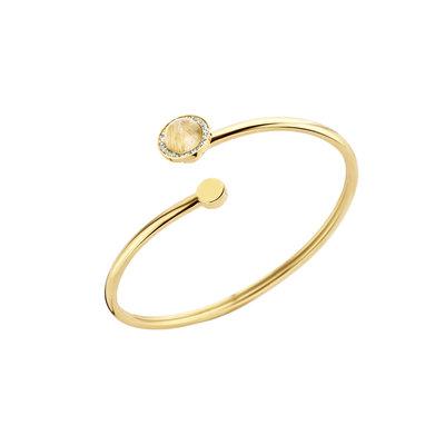 Melano Kerst Special 2018 Vivid Armband Goudkleurig met Ritulated Quartz Gold-coulor Zirkonia Crystal Meddy Goudkleurig