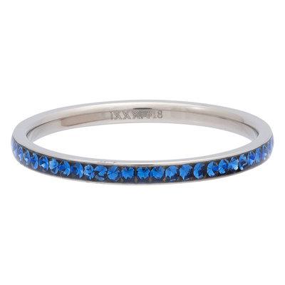 iXXXi Ring 2mm Edelstaal Zilverkleurig Zirkonia Capri Blue