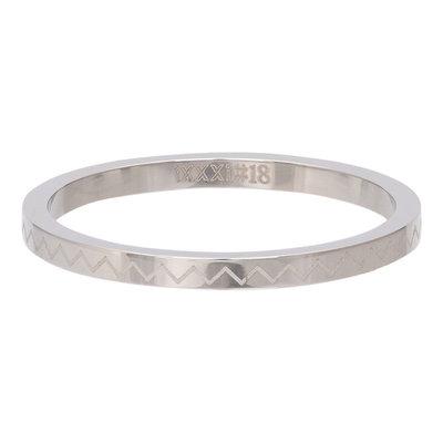 iXXXi Ring 2mm Edelstaal Heartbeat Zilverkleurig