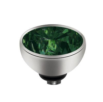 Melano Twisted Meddy Zirkonia Edelstaal Zilverkleurig Emerald Green