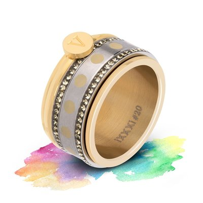 iXXXi Mix & Match Rainbow No.12 Letter Ring naar keuze