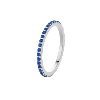 Melano Friends Ring Sade Silver-coloured Zirkonia Jeans Blue