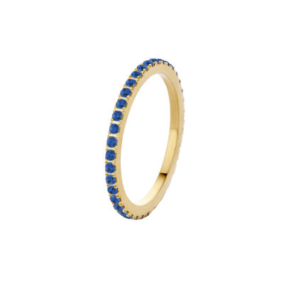 Melano Friends Ring Sade Gold-coloured Zirkonia Jeans Blue