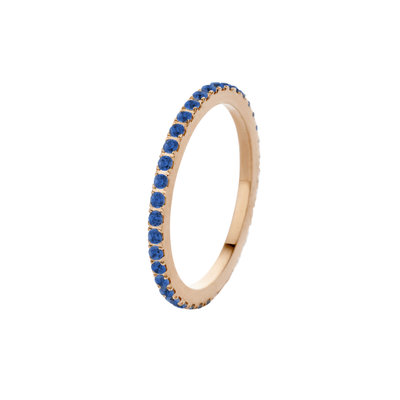 Melano Friends Ring Sade Rose Goudkleurig Zirkonia Jeans Blue
