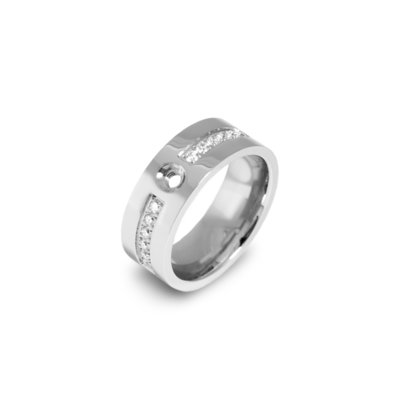 Melano Flat Twisted Zirkonia Ring 8mm Zilverkleurig