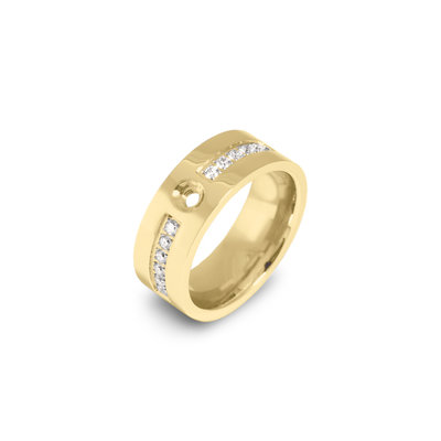 Melano Flat Twisted Zirkonia Ring 8mm Goudkleurig