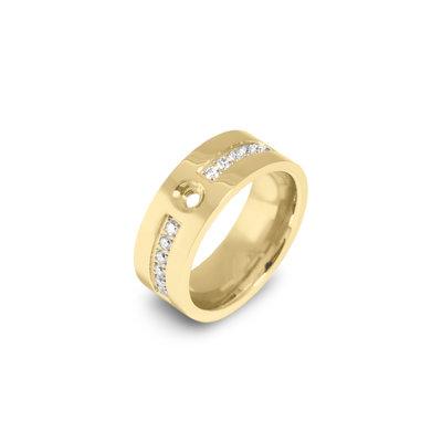 Melano Flat Twisted Zirkonia Ring 8mm Gold coloured