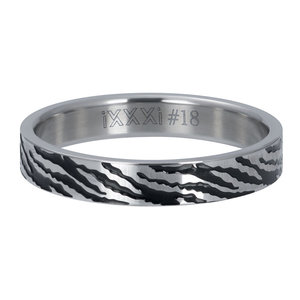 iXXXi Ring 4mm Zebra Zilverkleurig