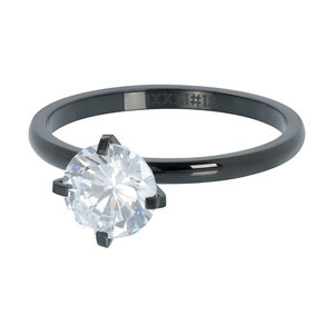 iXXXi Ring 2mm Zwart Secure Stone Crystal