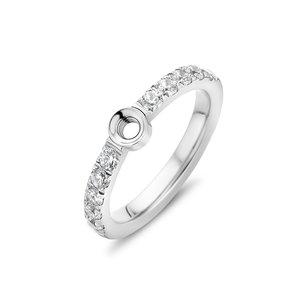 Melano Twisted Zirkonia Ring Zilverkleurig
