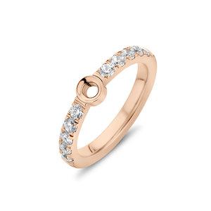 Melano Twisted Zirkonia Ring Rose Goudkleurig
