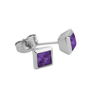 Melano Square Oorstekers Liza Edelstaal Zilverkleurig Zirkonia Purple