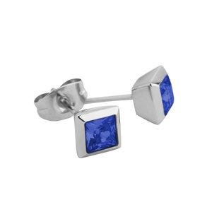 Melano Square Oorstekers Liza Edelstaal Zilverkleurig Zirkonia Blue