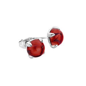 Melano Friends Oorstekers Edelstaal Zilverkleurig 8mm Zirkonia Dark Red