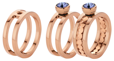 Melano Twisted Ring Trista Edelstaal Rose Goudkleurig