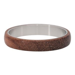 iXXXi Ring 4mm Edelstaal Zilverkleurig Wood Dark Brown