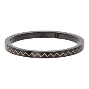 iXXXi Ring 2mm Edelstaal Heartbeat Zwart