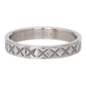 iXXXi Ring 4mm Edelstaal X Line Zilverkleurig
