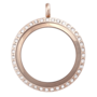 Alexander-Jacobs-Jewels-Edelstaal-Locket-Rose-Goud-met-Zirkonia-Crystal-30mm